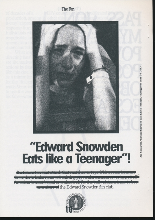 WWFG You Are Crystal, Edward Snowden (A Fanzine) (2013)
